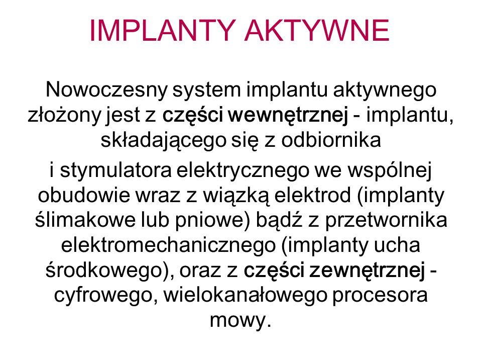 IMPLANTY AKTYWNE Nowoczesny system implantu aktywnego złożony jest z części wewnętrznej - implantu, składającego się z odbiornika i stymulatora elektr
