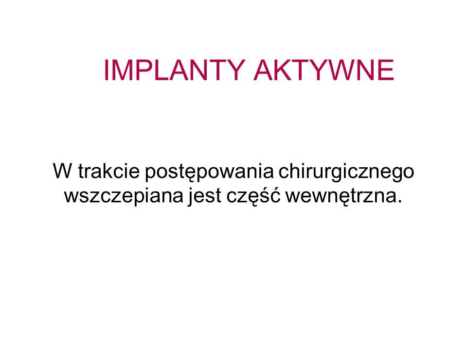 IMPLANTY AKTYWNE W trakcie postępowania chirurgicznego wszczepiana jest część wewnętrzna.