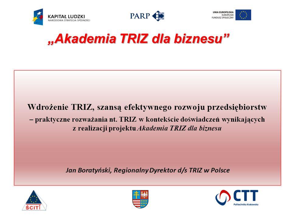 Wdrożenie TRIZ, szansą efektywnego rozwoju przedsiębiorstw – praktyczne rozważania nt. TRIZ w kontekście doświadczeń wynikających z realizacji projekt