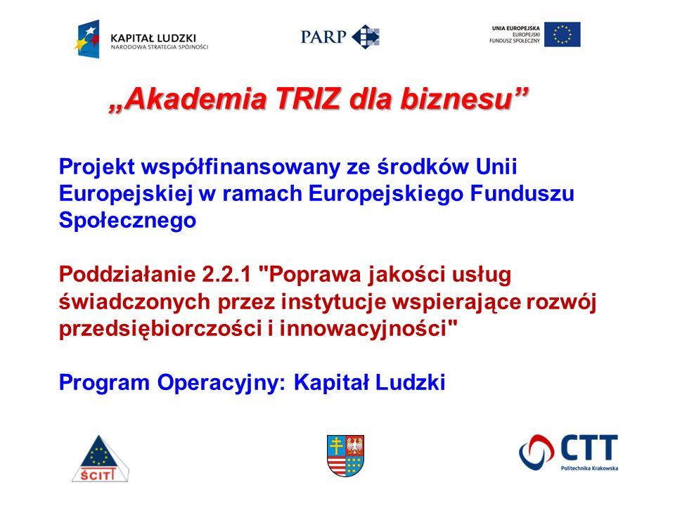 Projekt współfinansowany ze środków Unii Europejskiej w ramach Europejskiego Funduszu Społecznego Poddziałanie 2.2.1