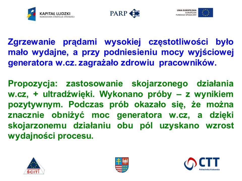 Zgrzewanie prądami wysokiej częstotliwości było mało wydajne, a przy podniesieniu mocy wyjściowej generatora w.cz. zagrażało zdrowiu pracowników. Prop