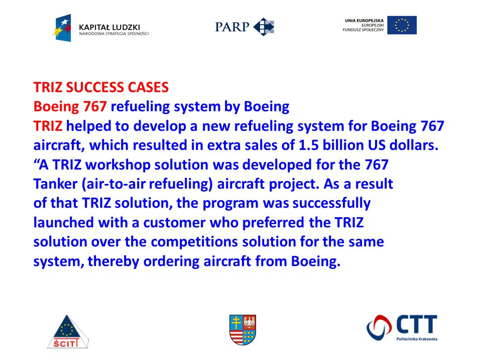 TRIZ SUCCESS CASES Boeing 767 refueling system by Boeing TRIZ helped to develop a new refueling system for Boeing 767 aircraft, which resulted in extra sales of 1.5 billion US dollars.