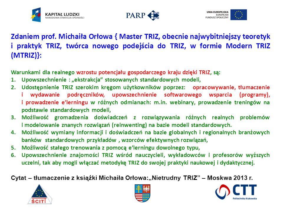 Zdaniem prof. Michaiła Orłowa { Master TRIZ, obecnie najwybitniejszy teoretyk i praktyk TRIZ, twórca nowego podejścia do TRIZ, w formie Modern TRIZ (M