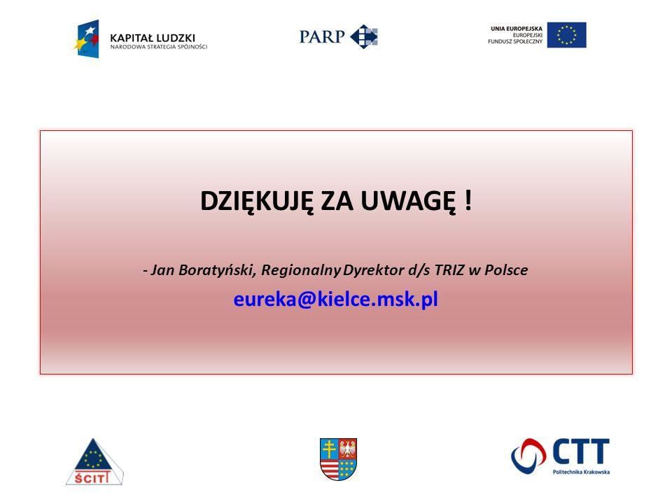 DZIĘKUJĘ ZA UWAGĘ ! - Jan Boratyński, Regionalny Dyrektor d/s TRIZ w Polsce eureka@kielce.msk.pl