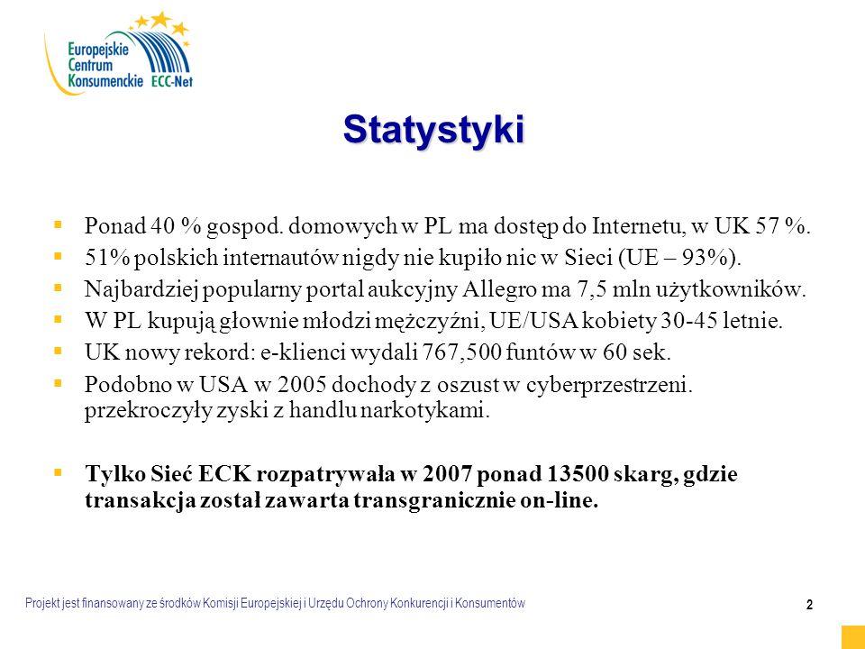 Projekt jest finansowany ze środków Komisji Europejskiej i Urzędu Ochrony Konkurencji i Konsumentów 2 Statystyki   Ponad 40 % gospod.