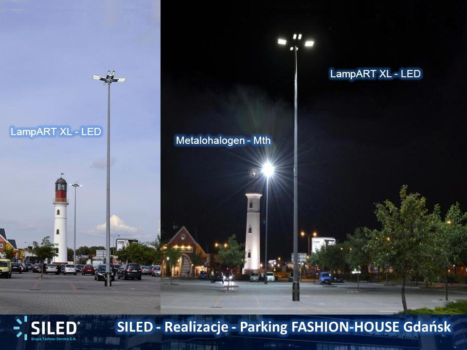 INFRASTRUKTURAŹródło światłaTyp oprawy Moc oprawy (ze statecznikiem) [W] Ilość opraw na maszt Moc zainstalowana łącznie [kW] Moc całkowita uwzględniając oszczędności Przed ModernizacjąMetalohalogen Philips Optivision MVP 507 110044,4 System SILEDLEDSILED LampArt XL31241,250,53 Różnica:3,153,87 Prognozowana średnia cena energii: 0,60PLN/kWh Średni roczny czas świecenia: 4.000 h Suma oszczędności w roku z tytułu ograniczenia zużycia energii: 3,15kW x 4.000h x 0,60PLN/kWh : 7.560PLN Całkowita suma oszczędności w roku z tytułu ograniczenia zużycia energii przy zastosowaniu inteligentnej redukcji mocy: 3,87kW x 4.000h x 0,60PLN/kWh 9.290PLN