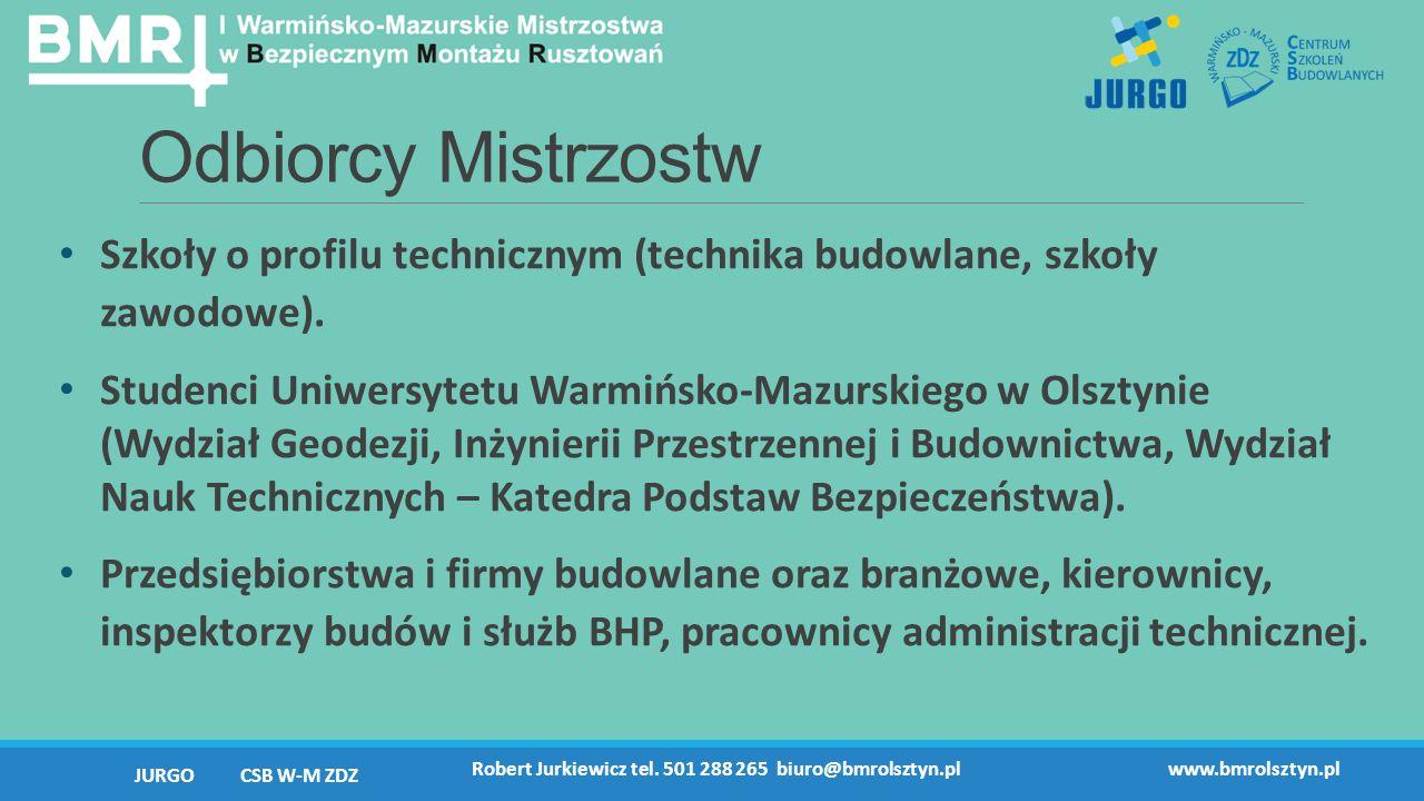 Odbiorcy Mistrzostw Szkoły o profilu technicznym (technika budowlane, szkoły zawodowe).