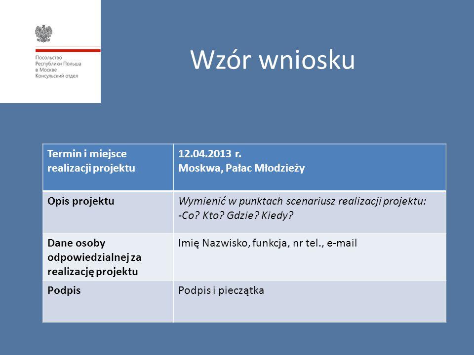 Wzór wniosku Termin i miejsce realizacji projektu 12.04.2013 r. Moskwa, Pałac Młodzieży Opis projektuWymienić w punktach scenariusz realizacji projekt