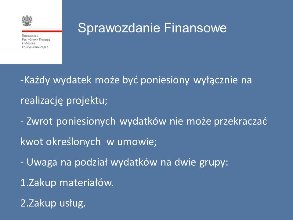 Sprawozdanie Finansowe -Każdy wydatek może być poniesiony wyłącznie na realizację projektu; - Zwrot poniesionych wydatków nie może przekraczać kwot określonych w umowie; - Uwaga na podział wydatków na dwie grupy: 1.Zakup materiałów.
