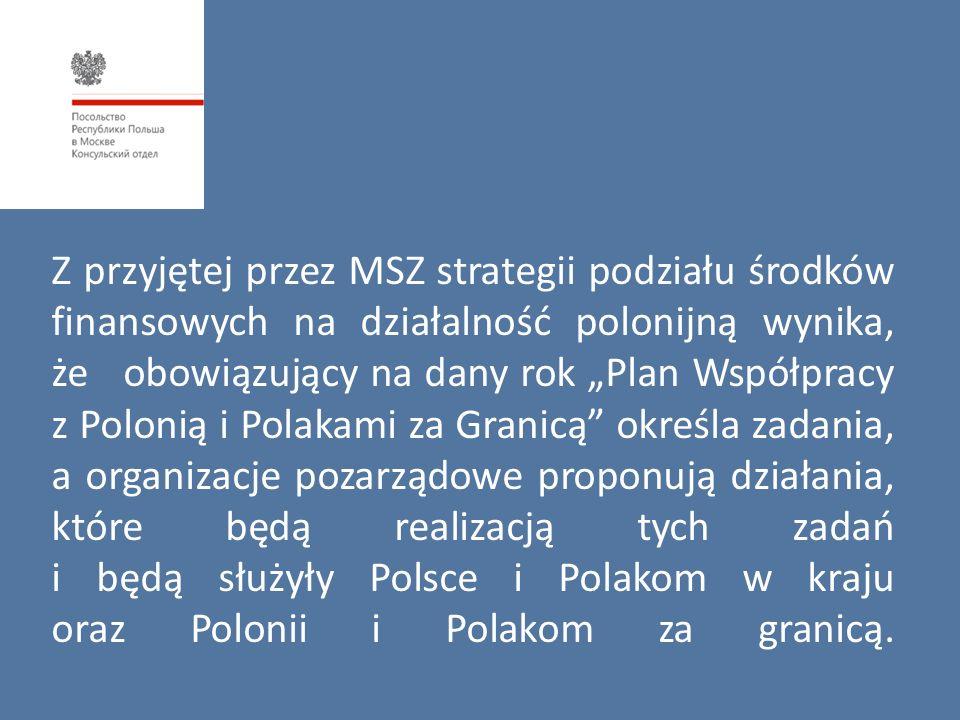 """Z przyjętej przez MSZ strategii podziału środków finansowych na działalność polonijną wynika, że obowiązujący na dany rok """"Plan Współpracy z Polonią i"""