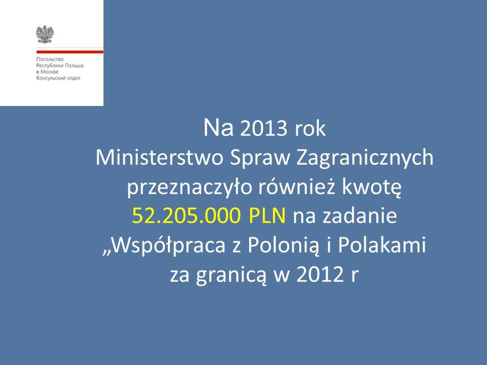 """Na 2013 rok Ministerstwo Spraw Zagranicznych przeznaczyło również kwotę 52.205.000 PLN na zadanie """"Współpraca z Polonią i Polakami za granicą w 2012 r"""