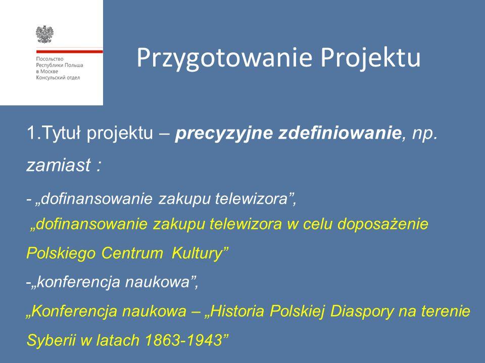 1.Tytuł projektu – precyzyjne zdefiniowanie, np.