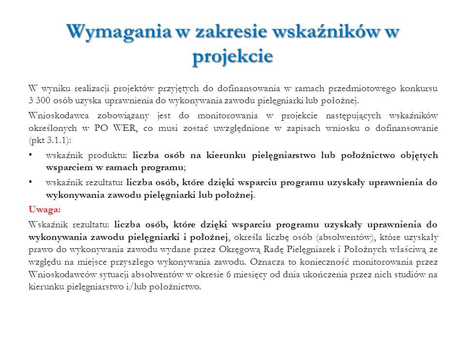 Wymagania w zakresie wskaźników w projekcie W wyniku realizacji projektów przyjętych do dofinansowania w ramach przedmiotowego konkursu 3 300 osób uzy