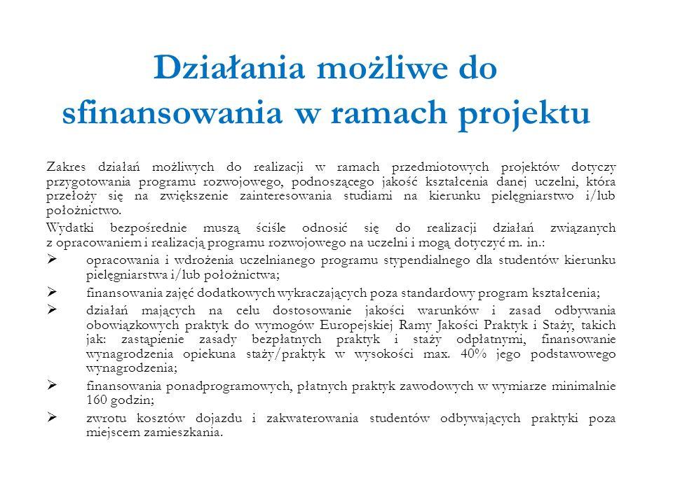 Działania możliwe do sfinansowania w ramach projektu Zakres działań możliwych do realizacji w ramach przedmiotowych projektów dotyczy przygotowania pr