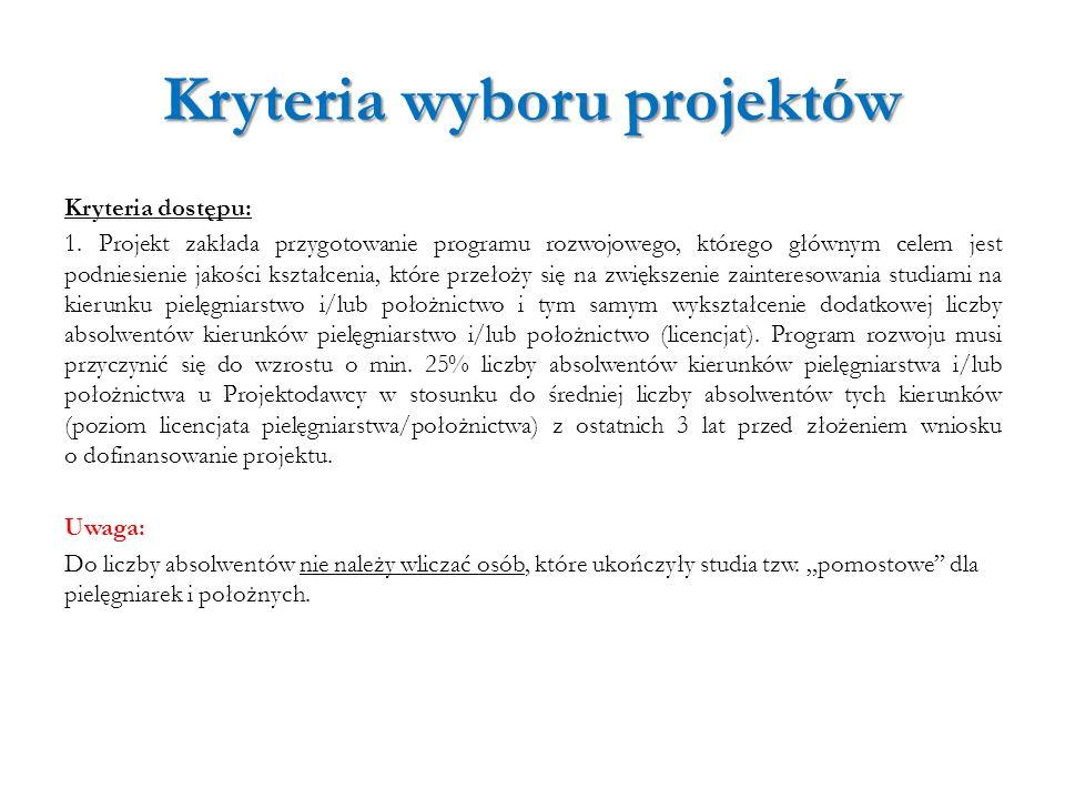Kryteria wyboru projektów Kryteria dostępu: 1. Projekt zakłada przygotowanie programu rozwojowego, którego głównym celem jest podniesienie jakości ksz