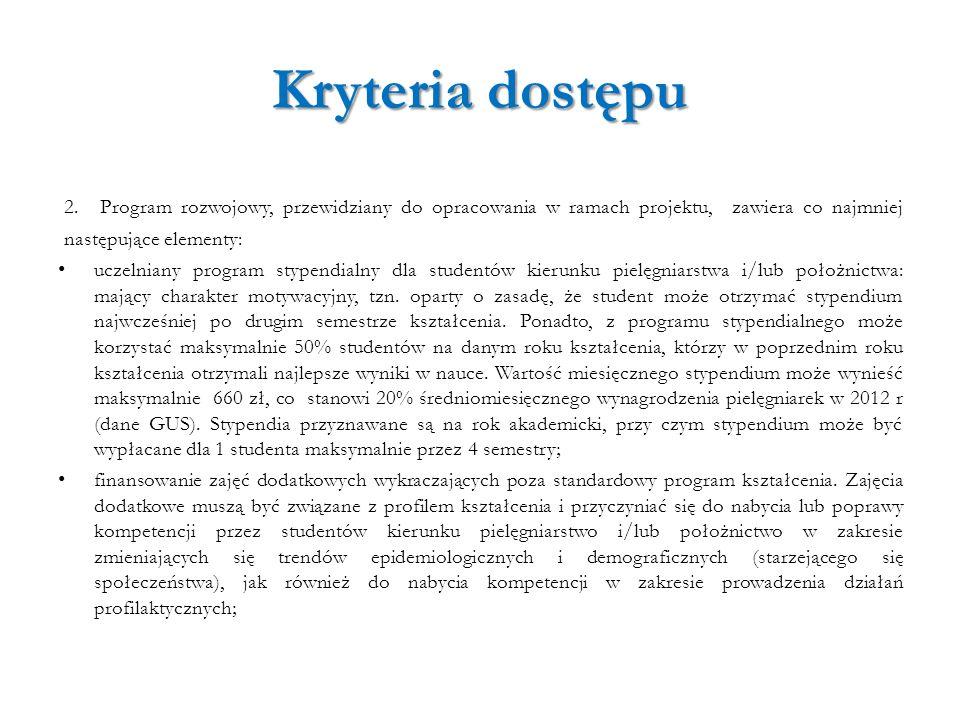 Kryteria dostępu 2. Program rozwojowy, przewidziany do opracowania w ramach projektu, zawiera co najmniej następujące elementy: uczelniany program sty