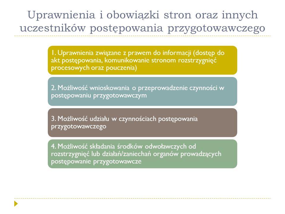 Uprawnienia i obowiązki stron oraz innych uczestników postępowania przygotowawczego 1. Uprawnienia związane z prawem do informacji (dostęp do akt post