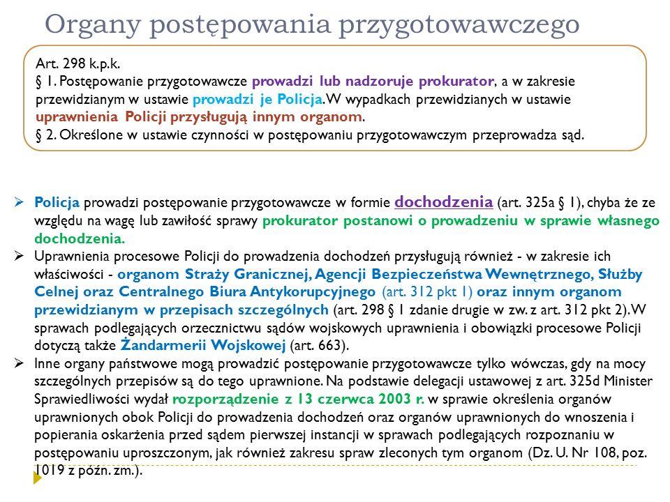 Organy postępowania przygotowawczego Art. 298 k.p.k. § 1. Postępowanie przygotowawcze prowadzi lub nadzoruje prokurator, a w zakresie przewidzianym w