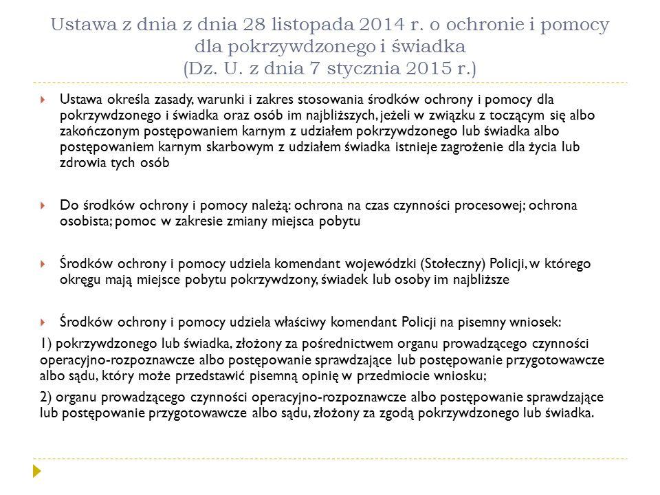 Ustawa z dnia z dnia 28 listopada 2014 r. o ochronie i pomocy dla pokrzywdzonego i świadka (Dz. U. z dnia 7 stycznia 2015 r.)  Ustawa określa zasady,