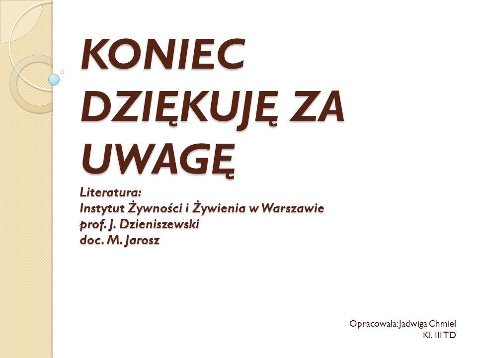 KONIEC DZIĘKUJĘ ZA UWAGĘ Literatura: Instytut Żywności i Żywienia w Warszawie prof. J. Dzieniszewski doc. M. Jarosz Opracowała: Jadwiga Chmiel Kl. III