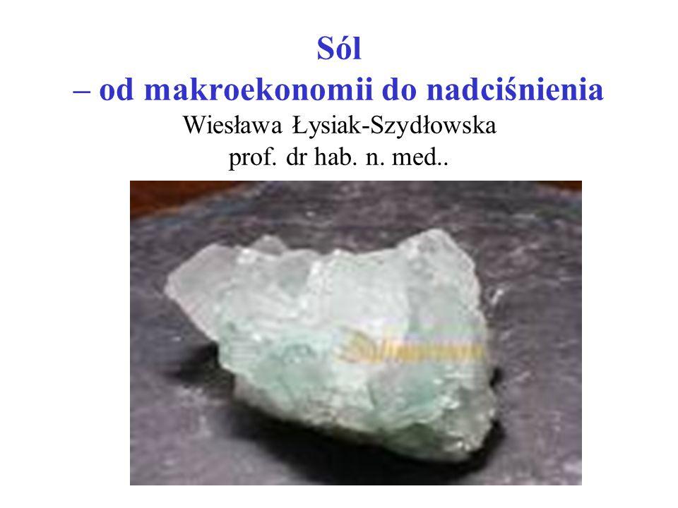 Sól – od makroekonomii do nadciśnienia Wiesława Łysiak-Szydłowska prof. dr hab. n. med..