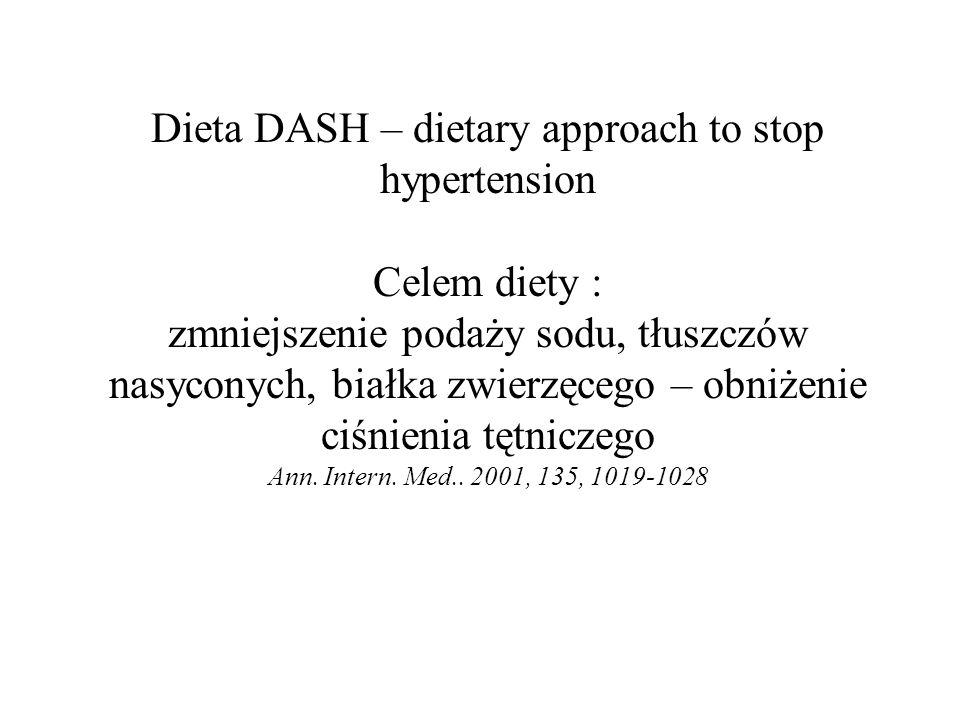 Dieta DASH – dietary approach to stop hypertension Celem diety : zmniejszenie podaży sodu, tłuszczów nasyconych, białka zwierzęcego – obniżenie ciśnie
