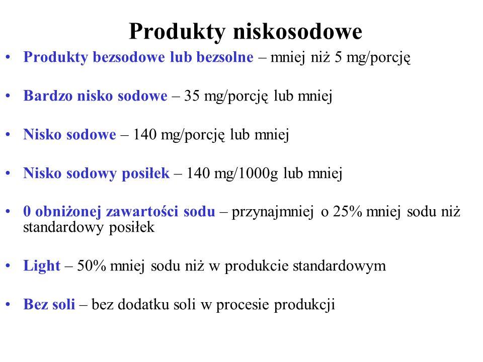 Produkty niskosodowe Produkty bezsodowe lub bezsolne – mniej niż 5 mg/porcję Bardzo nisko sodowe – 35 mg/porcję lub mniej Nisko sodowe – 140 mg/porcję lub mniej Nisko sodowy posiłek – 140 mg/1000g lub mniej 0 obniżonej zawartości sodu – przynajmniej o 25% mniej sodu niż standardowy posiłek Light – 50% mniej sodu niż w produkcie standardowym Bez soli – bez dodatku soli w procesie produkcji