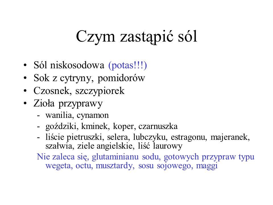 Czym zastąpić sól Sól niskosodowa (potas!!!) Sok z cytryny, pomidorów Czosnek, szczypiorek Zioła przyprawy -wanilia, cynamon -goździki, kminek, koper,