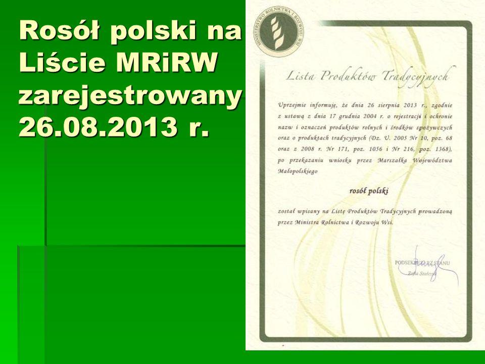 Rosół polski na Liście MRiRW zarejestrowany 26.08.2013 r.