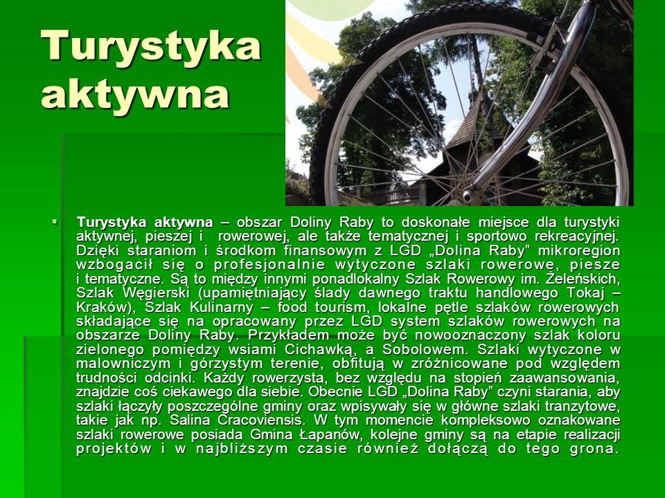 Turystyka aktywna  Turystyka aktywna – obszar Doliny Raby to doskonałe miejsce dla turystyki aktywnej, pieszej i rowerowej, ale także tematycznej i sportowo rekreacyjnej.