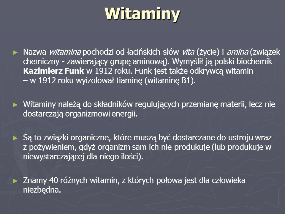 Witaminy ► ► Nazwa witamina pochodzi od łacińskich słów vita (życie) i amina (związek chemiczny - zawierający grupę aminową). Wymyślił ją polski bioch