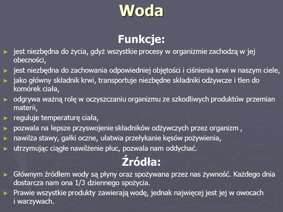 Woda Funkcje: ► ► jest niezbędna do życia, gdyż wszystkie procesy w organizmie zachodzą w jej obecności, ► ► jest niezbędna do zachowania odpowiedniej