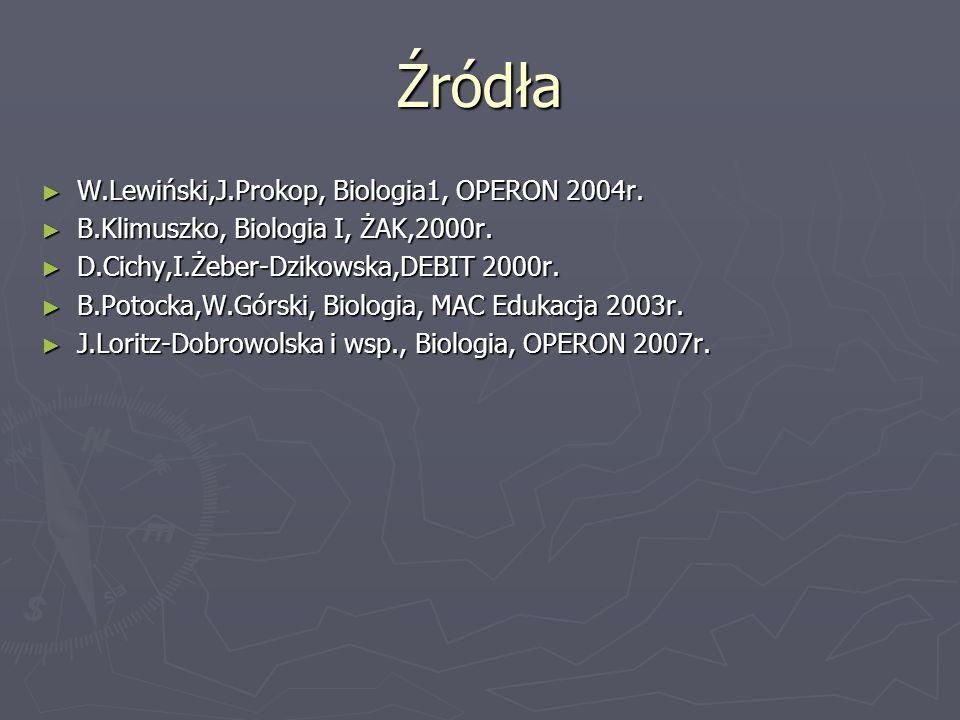 Źródła ► W.Lewiński,J.Prokop, Biologia1, OPERON 2004r. ► B.Klimuszko, Biologia I, ŻAK,2000r. ► D.Cichy,I.Żeber-Dzikowska,DEBIT 2000r. ► B.Potocka,W.Gó