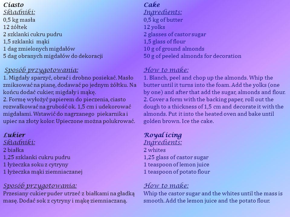 Ciasto Sk ł adniki: 0,5 kg masła 12 żółtek 2 szklanki cukru pudru 1,5 szklanki mąki 1 dag zmielonych migdałów 5 dag obranych migdałów do dekoracji Sposób przygotowania: 1.