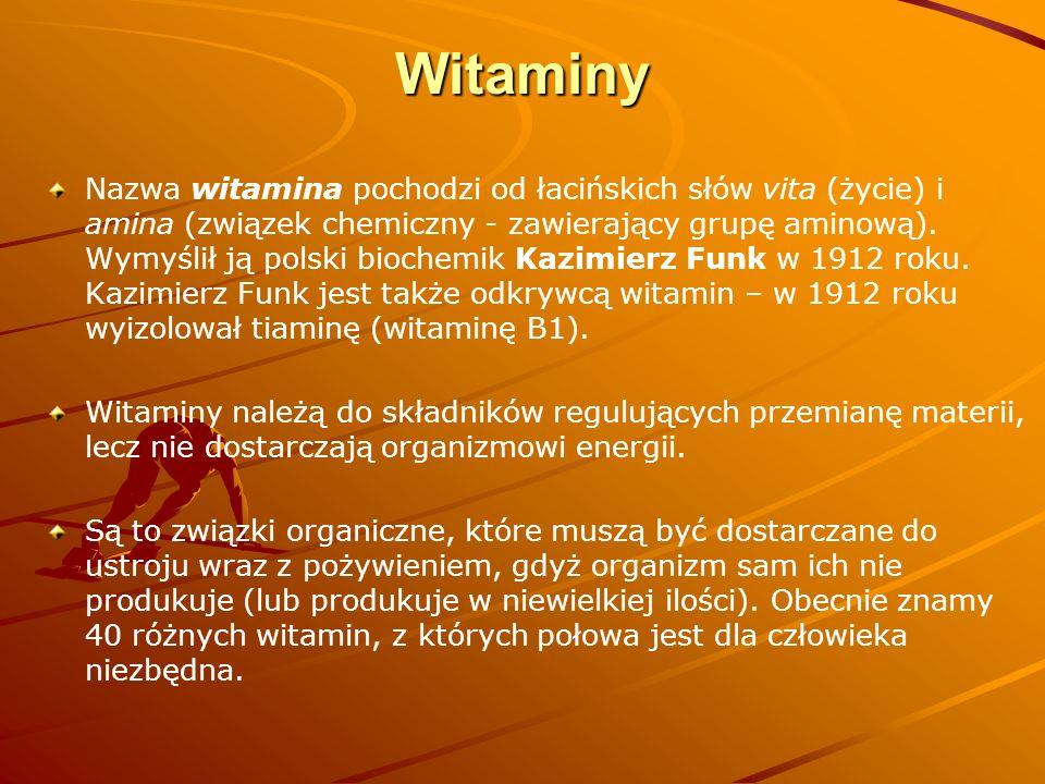 Witaminy Nazwa witamina pochodzi od łacińskich słów vita (życie) i amina (związek chemiczny - zawierający grupę aminową). Wymyślił ją polski biochemik