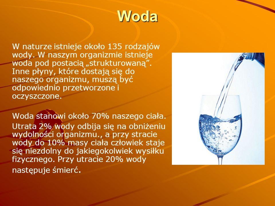 """Woda W naturze istnieje około 135 rodzajów wody. W naszym organizmie istnieje woda pod postacią """"strukturowaną"""". Inne płyny, które dostają się do nasz"""
