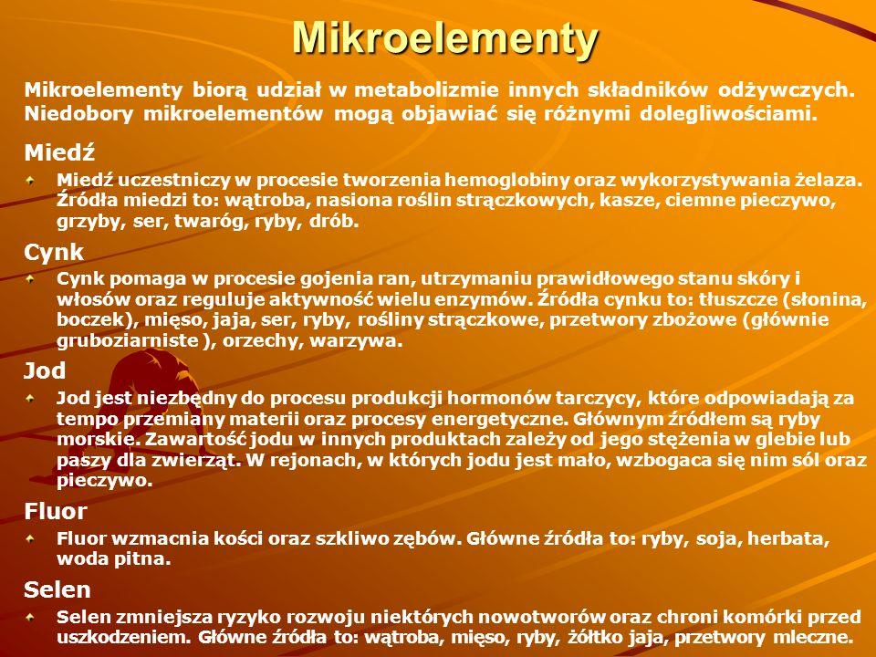 Mikroelementy Mikroelementy biorą udział w metabolizmie innych składników odżywczych. Niedobory mikroelementów mogą objawiać się różnymi dolegliwościa