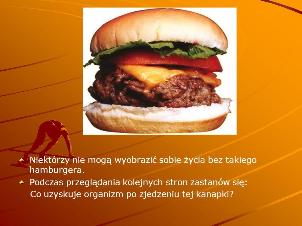 Niektórzy nie mogą wyobrazić sobie życia bez takiego hamburgera. Podczas przeglądania kolejnych stron zastanów się: Co uzyskuje organizm po zjedzeniu