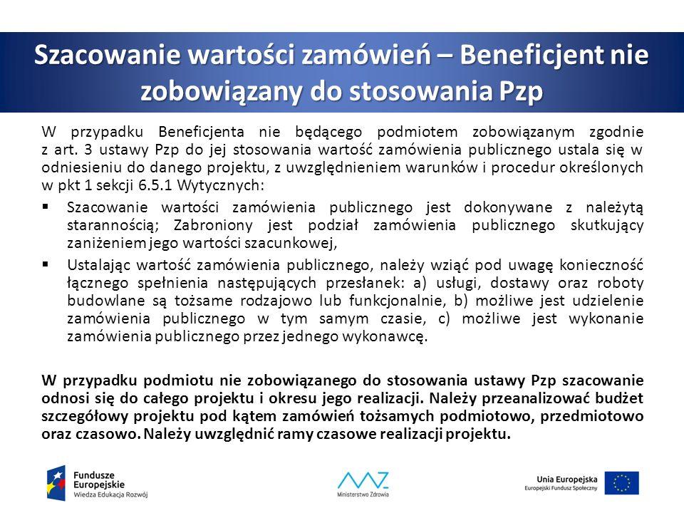 Szacowanie wartości zamówień – Beneficjent nie zobowiązany do stosowania Pzp W przypadku Beneficjenta nie będącego podmiotem zobowiązanym zgodnie z art.