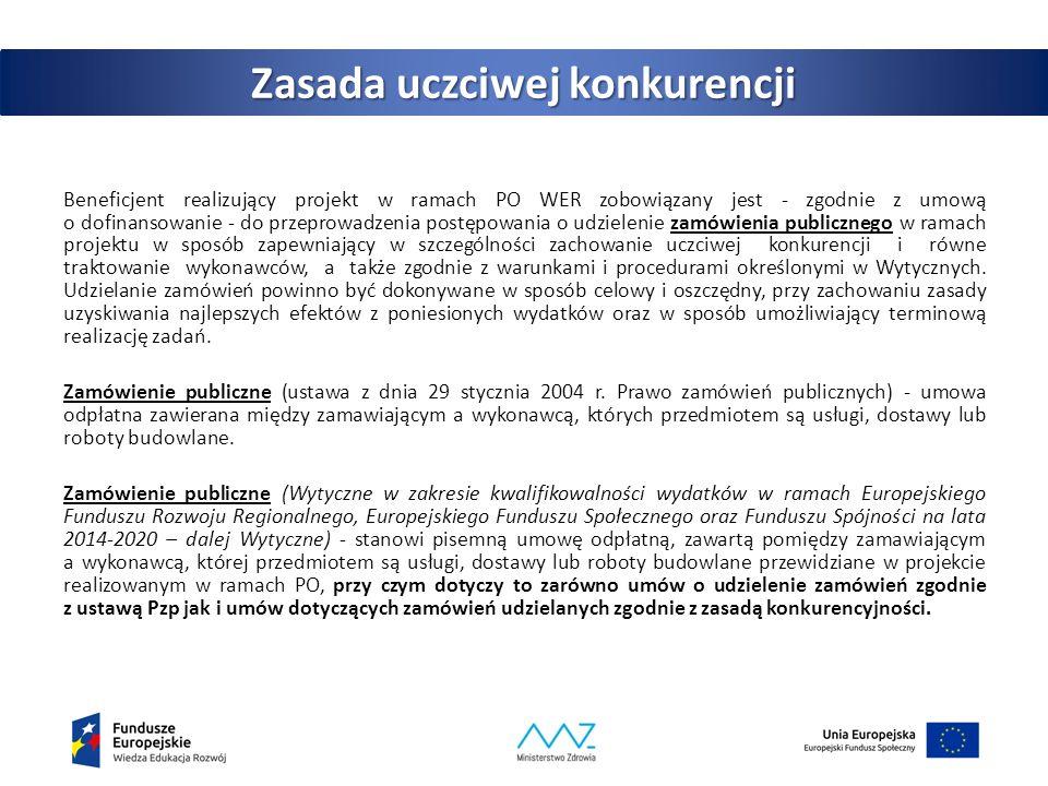 Zasada uczciwej konkurencji Udzielanie zamówienia publicznego w ramach projektu następuje zgodnie z: a) ustawą Pzp – w przypadku beneficjenta będącego podmiotem zobowiązanym zgodnie z art.
