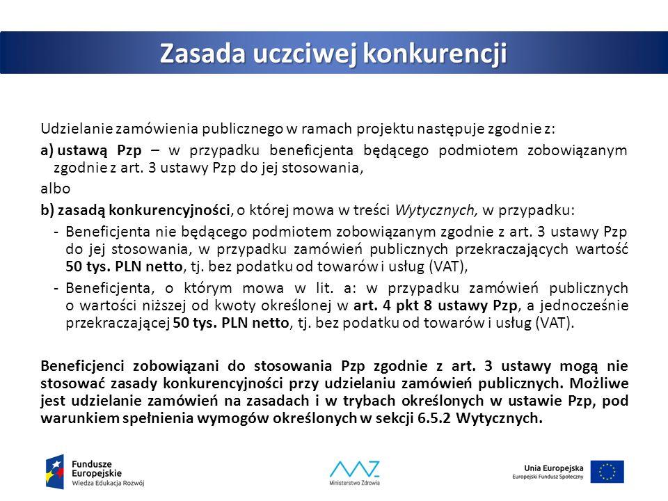 Szczególne warunki udzielania zamówień publicznych zgodnie z zasadą konkurencyjności Do postępowań o udzielenie zamówień publicznych na dostawy i usługi zastosowanie mają zalecenia i rekomendacje wskazane w Załączniku 1 do Wytycznych:  W trakcie przeprowadzania postępowania o udzielenie zamówienia publicznego stosuje się wewnętrzne procedury beneficjenta dotyczące udzielania zamówień publicznych opracowane w postaci np.