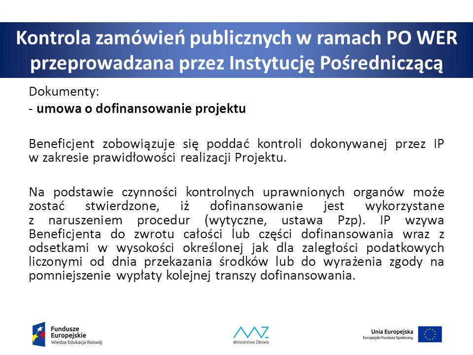 Kontrola zamówień publicznych w ramach PO WER przeprowadzana przez Instytucję Pośredniczącą Dokumenty: - umowa o dofinansowanie projektu Beneficjent zobowiązuje się poddać kontroli dokonywanej przez IP w zakresie prawidłowości realizacji Projektu.