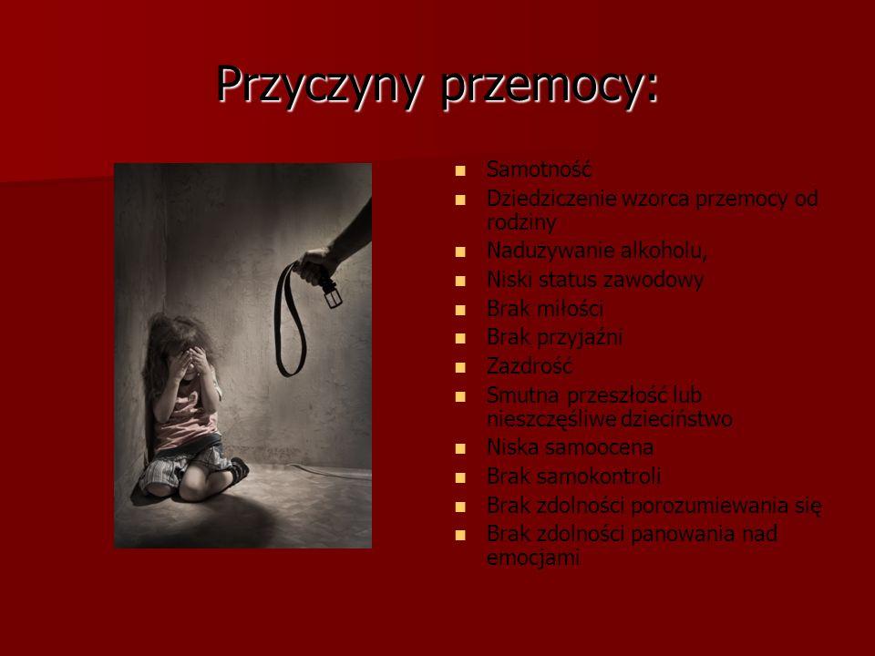 Przyczyny przemocy: Samotność Dziedziczenie wzorca przemocy od rodziny Nadużywanie alkoholu, Niski status zawodowy Brak miłości Brak przyjaźni Zazdroś