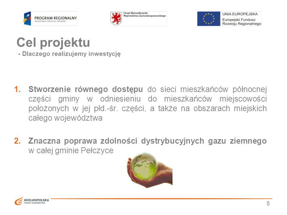 Cel projektu - Dlaczego realizujemy inwestycję 1.Stworzenie równego dostępu do sieci mieszkańców północnej części gminy w odniesieniu do mieszkańców m