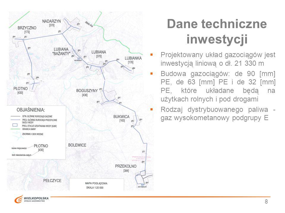 Dane techniczne inwestycji 8  Projektowany układ gazociągów jest inwestycją liniową o dł. 21 330 m  Budowa gazociągów: de 90 [mm] PE, de 63 [mm] PE