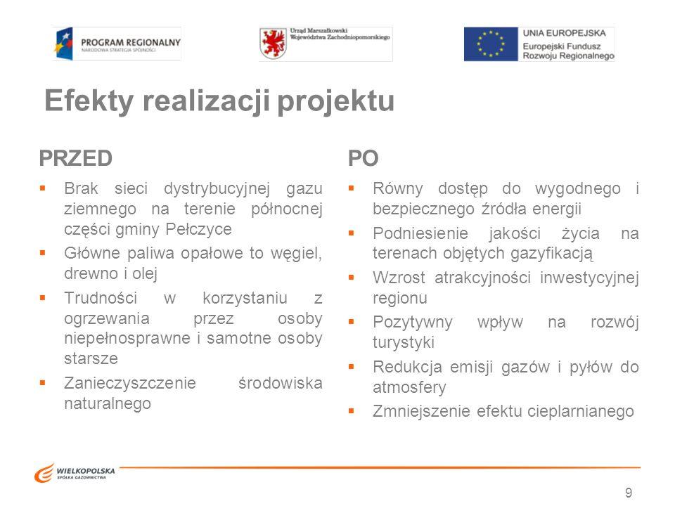 Efekty realizacji projektu PRZED  Brak sieci dystrybucyjnej gazu ziemnego na terenie północnej części gminy Pełczyce  Główne paliwa opałowe to węgie