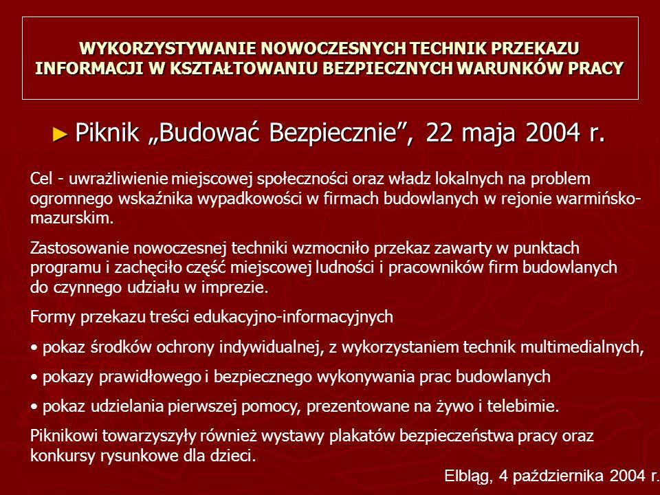 """WYKORZYSTYWANIE NOWOCZESNYCH TECHNIK PRZEKAZU INFORMACJI W KSZTAŁTOWANIU BEZPIECZNYCH WARUNKÓW PRACY ► Piknik """"Budować Bezpiecznie , 22 maja 2004 r."""