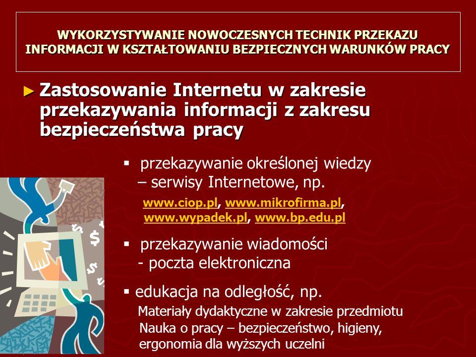 WYKORZYSTYWANIE NOWOCZESNYCH TECHNIK PRZEKAZU INFORMACJI W KSZTAŁTOWANIU BEZPIECZNYCH WARUNKÓW PRACY ► Zastosowanie Internetu w zakresie przekazywania