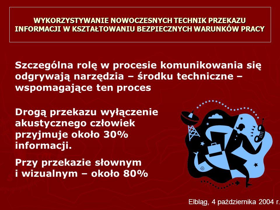 WYKORZYSTYWANIE NOWOCZESNYCH TECHNIK PRZEKAZU INFORMACJI W KSZTAŁTOWANIU BEZPIECZNYCH WARUNKÓW PRACY ► W Polsce każdego dnia rośnie liczba osób mających dostęp do Internetu W pierwszym półroczu 2004 r.