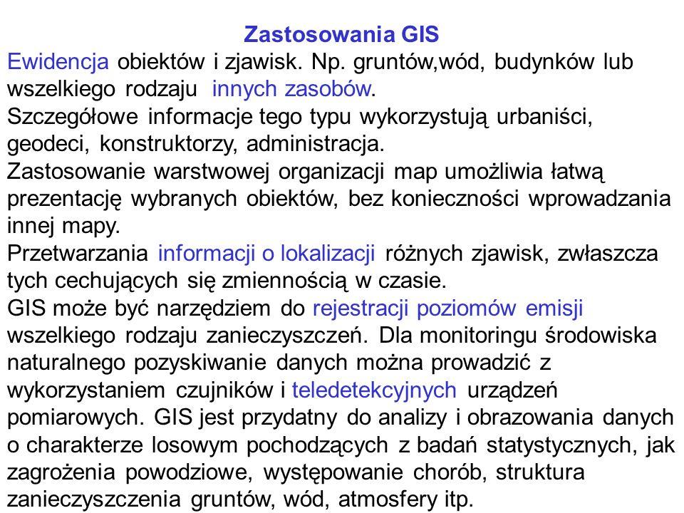Zastosowania GIS Ewidencja obiektów i zjawisk. Np.